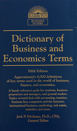 Image For DICTIONARY OF BUSINESS AND ECONOMICS TERMS